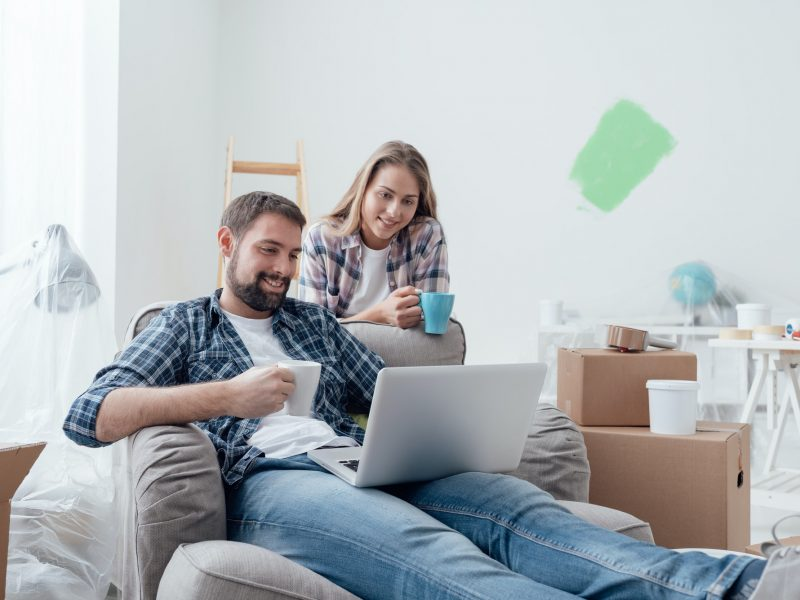 Couple relaxing during home renovation